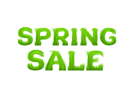 grass font: Spring sale inscription made of grass isolated on white.  Early spring green grass font. Spring outlet, clearance, seasonal sale concept.  Vector illustration.