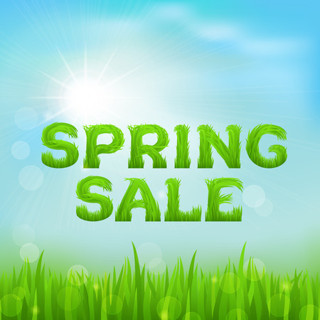 early spring: Spring sale inscription made of grass. Spring background with green early spring grass on blurred soft background. Spring outlet, clearance, seasonal sale concept.  Vector illustration.