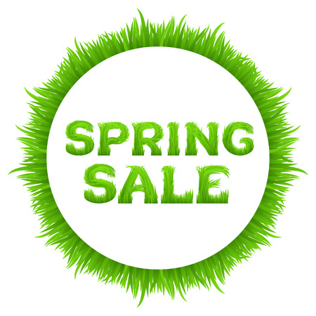 grass font: Spring sale inscription with circle frame made of grass isolated on white.  Early spring green grass font. Spring outlet, clearance, seasonal sale concept.  Vector illustration.