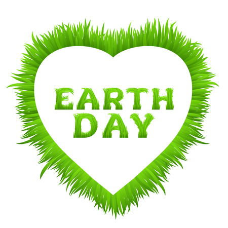 grass font: Earth day inscription with heart frame made of grass isolated on white. Happy Earth Day greeting card.  Early spring green grass font. Vector illustration.