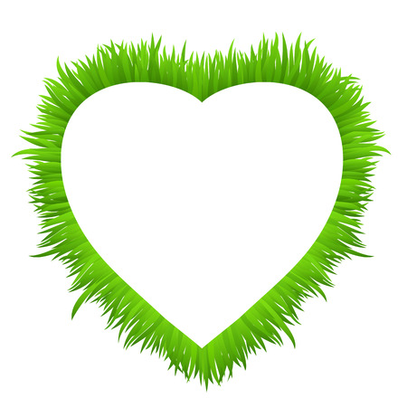 eco notice: Heart frame made of grass isolated on white. Fresh spring, summer green grass border for your design. Natural  background with copy space for your text. Vector illustration. Illustration