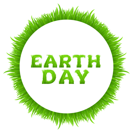 grass font: Earth day inscription with circle frame made of grass isolated on white. Happy Earth Day greeting card.  Early spring green grass font. Vector illustration. Illustration