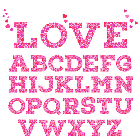 love hearts: Brightly colored romantic alphabet with love inscription made of small vivid heart shapes in mosaic style isolated on white background.  Valentines day, wedding, love concept. Vector illustration.