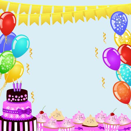 Sfondo di festa di compleanno con bandiere, palloncini, torta di compleanno e bigné. Bordo di compleanno per il tuo disegno. Copia spazio copia spazio per il tuo testo. EPS10 illustrazione vettoriale