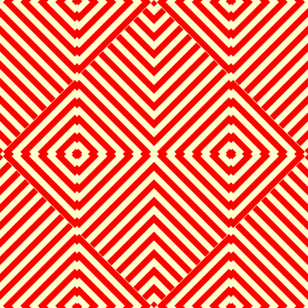background kaleidoscope: seamless pattern with symmetric geometric ornament. Striped red white abstract background. Kaleidoscope abstract repeated square wallpaper. Vector illustration