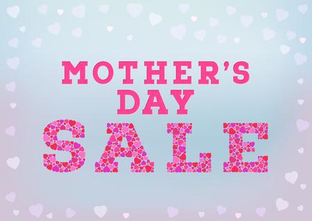 母の日販売碑文は青のソフト背景に小さなハートの形に成っています。幸せな母の日販売コンセプト。ベクトル図  イラスト・ベクター素材
