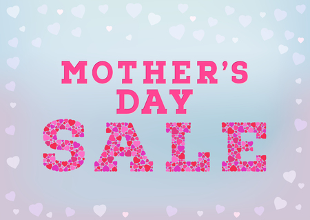 inscription: Mothers Day sale inscription made of small heart shapes on blue soft background. Happy Mothers day sale concept. Vector illustration Illustration