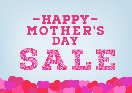 Happy Mother's Day sale inscription decorated with heart shapes on blue soft background. Mother's day sale concept. Vector illustration