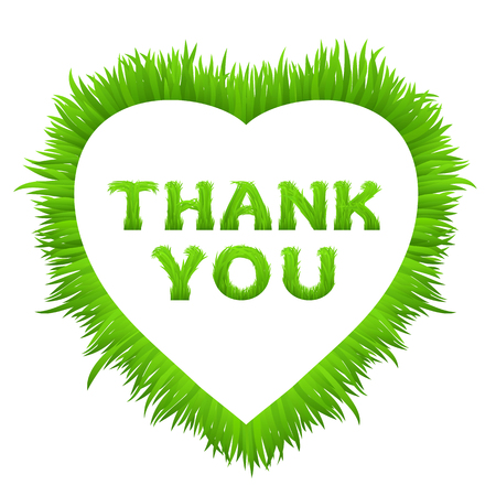 grass font: Thank you inscription with heart frame made of grass isolated on white.  Early spring green grass font. Greeting card, poster with typography.  Vector illustration.