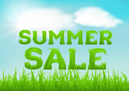 soft sell: Summer sale inscription made of grass. Summer background with fresh green grass on blurred soft background. Summer outlet, clearance, seasonal sale concept.  Vector illustration.