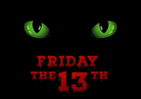 friday 13: Green cats eyes on the dark. Friday the thirteenth concept background.   EPS 10 vector illustration