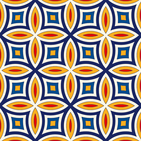 eclectic: Bright ethnic abstract background. Seamless pattern with symmetric geometric ornament. Ornamental mosaic texture.