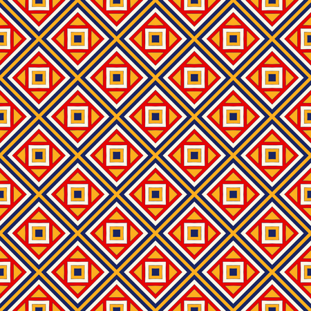 eclectic: Bright ethnic abstract background. Seamless pattern with symmetric geometric ornament. Ornamental mosaic texture. illustration