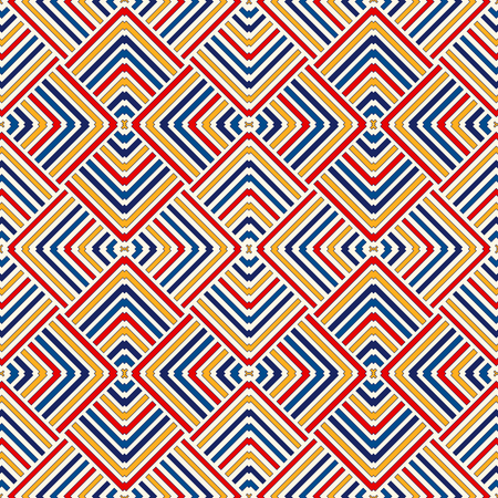 Bright ethnic abstract background. Seamless pattern with symmetric geometric ornament. Ornamental mosaic texture. illustration