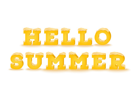 sandpit: Hello spring inscription in 3d style on white background. Phrase made of summer font with sand pile text effect. Vector illustration.