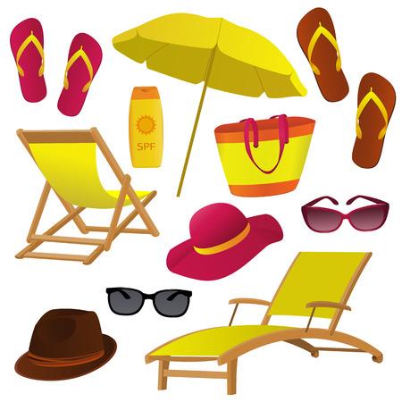 Beach Colección de los iconos de accesorios en el fondo blanco. Silla de cubierta, sombreros, gafas de sol, los objetos del bolso de la playa fijados para su diseño. ilustración vectorial