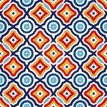 Bright ethnic abstract background. Seamless pattern with symmetric geometric ornament. Ornamental vivid wallpaper. Vector illustration