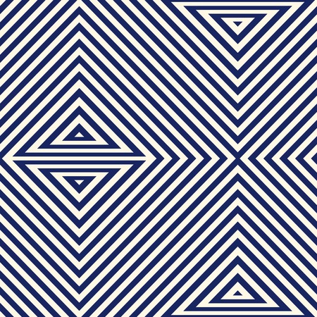 skew: Pattern with geometric ornament. Striped navy blue abstract background. Repeated triangles wallpaper. Vector illustration
