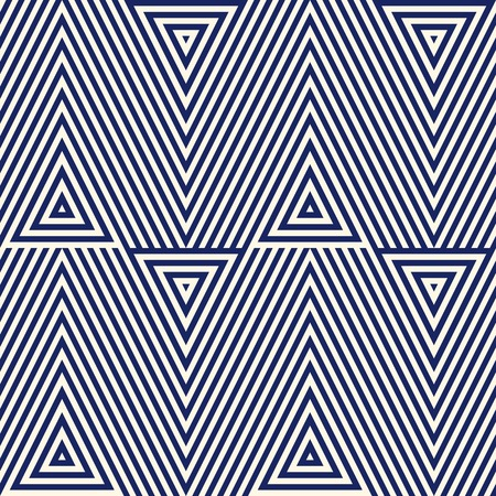 Pattern with geometric ornament. Striped navy blue abstract background. Repeated triangles wallpaper. Vector illustration Vetores