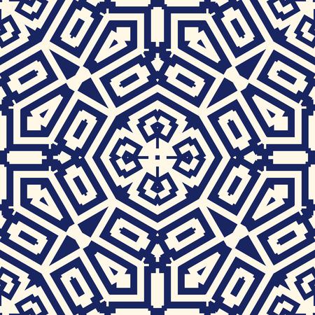 Bezszwowy wzór z symetrycznym ornamentem geometrycznym. Granatowy kolor streszczenie tle. Ilustracji wektorowych Ilustracje wektorowe
