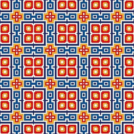colorific: Bright ethnic abstract background. Seamless pattern with symmetric geometric ornament. Ornamental vivid wallpaper. Vector illustration