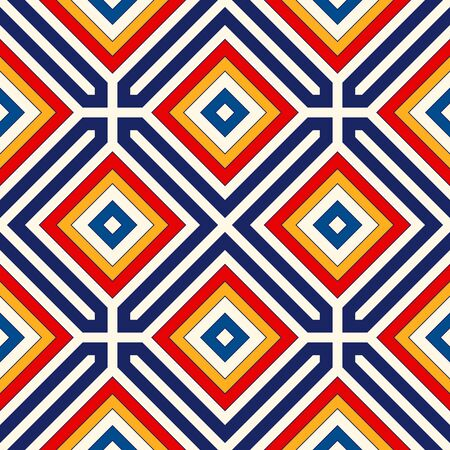 tessellation structure: Bright ethnic abstract background. Seamless pattern with symmetric geometric ornament. Ornamental vivid wallpaper. Vector illustration