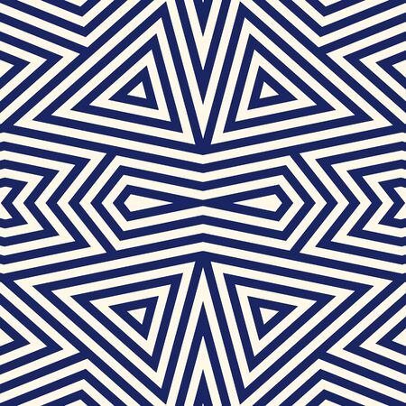 Seamless pattern with symmetric geometric ornament. Striped navy blue abstract background. Ethnic and tribal motifs. Repeated triangles wallpaper. Vector illustration Illustration