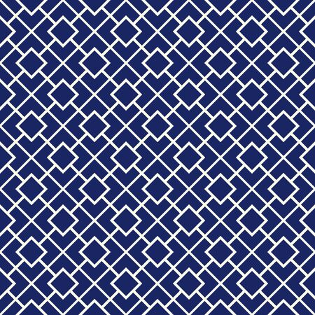 Seamless pattern with symmetric geometric ornament. Navy color diagonal square chain abstract background. Vector illustration