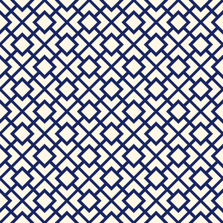 diagonal  square: Seamless pattern with symmetric geometric ornament. Navy color diagonal square chain abstract background. Vector illustration