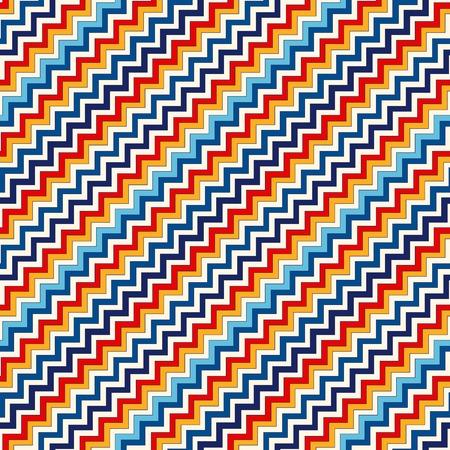 vivid colors: Seamless pattern with symmetric geometric ornament. Chevron zigzag bright colors diagonal lines abstract background. Ornamental vivid wallpaper. Vector illustration Illustration