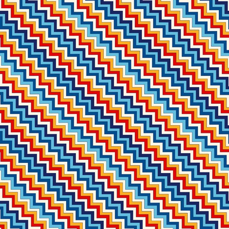 weave: Seamless pattern with symmetric geometric ornament. Chevron zigzag bright colors diagonal lines abstract background. Ornamental vivid wallpaper. Vector illustration Illustration