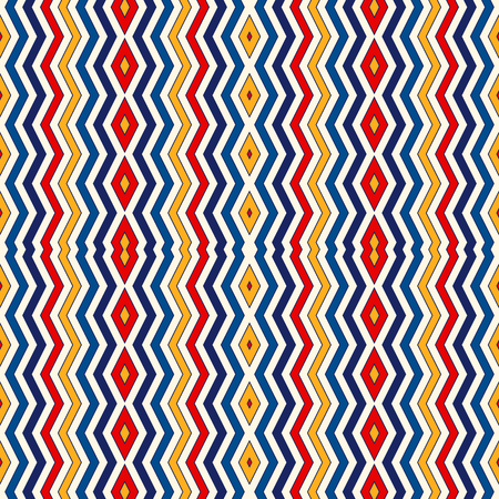 vivid colors: Seamless pattern with symmetric geometric ornament. Chevron zigzag bright colors vertical lines abstract background. Ornamental vivid wallpaper. Vector illustration Illustration