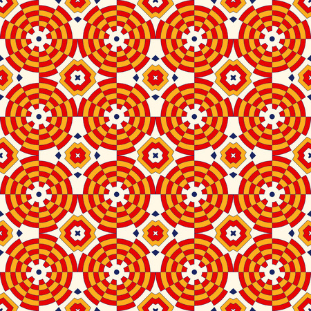 Bright ethnic abstract backdrop. Colorful kaleidoscope seamless pattern with decorative round ornament on white background. Ornamental vivid wallpaper. Vector illustration