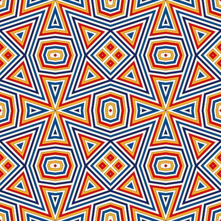 対称の幾何学的な飾りと明るいシームレス パターン。カラフルな抽象的な背景。民族・部族のモチーフ。観賞用の鮮やかな壁紙。ベクトル図