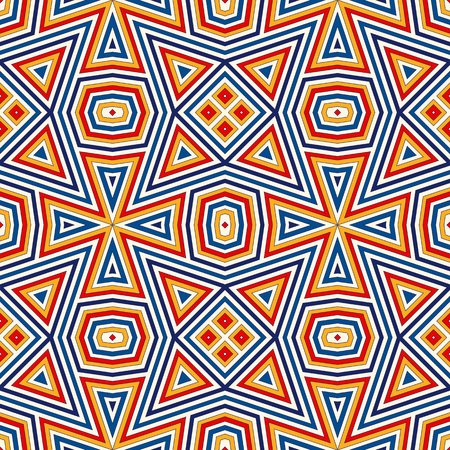 Bright seamless pattern with symmetric geometric ornament. Colorful abstract background. Ethnic and tribal motifs. Ornamental vivid wallpaper. Vector illustration