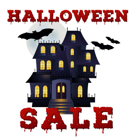 house clearance: Design of the flyer with halloween sale inscription on white background. Template of poster with cartoon haunted house and bloody font. Vector illustration