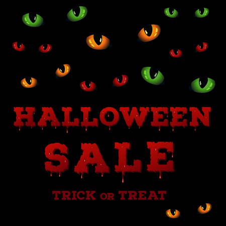 evil eyes: Design of the flyer with halloween sale inscription on black background. Template of poster with evil eyes glowing in the dark and bloody font. Vector illustration