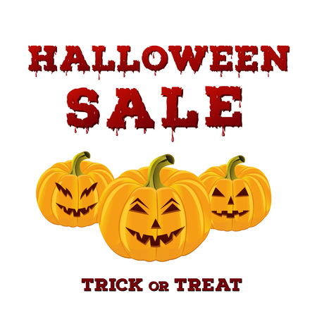 Design of the flyer with halloween sale inscription on white background. Template of poster with scary carved pumpkins and bloody font. Vector illustration