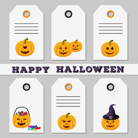 bash: Set of Halloween sale, discount, offer or gift tags on white background. Template of labels with funny cartoon carved pumpkins. Design for holiday greeting. Vector illustration