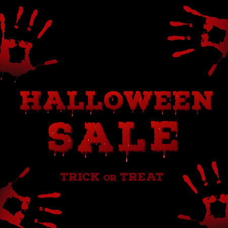 handprints: Design of the flyer with halloween sale inscription on black background. Template of poster with handprints and bloody font. Vector illustration