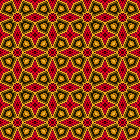Bright ethnic abstract background. Kaleidoscope seamless pattern with decorative ornament in african style. Ornamental vivid wallpaper. Vector illustration