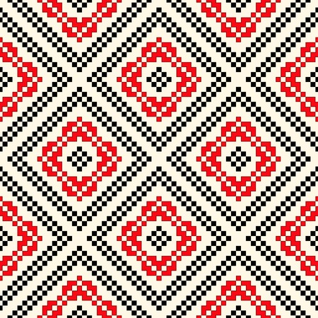 slavic: Seamless pattern with ethnic geometric abstract ornament. Cross stitch slavic embroidery motifs. Decorative elements in traditional red and black colors on white background. Vector illustration.