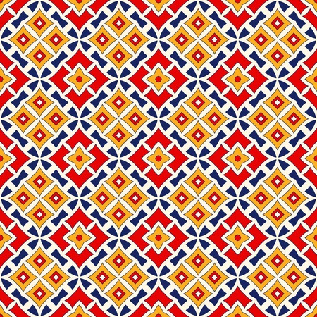 talavera: Bright ethnic abstract backdrop. Seamless pattern with oriental, old ornament on white background. Ornamental vivid wallpaper. Vector illustration Illustration