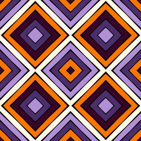 Seamless pattern in Halloween traditional colors. Repeated squares and rhombuses bright ornamental abstract background. Can be used for digital paper, textile print, page fill. Vector illustration