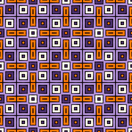 autumn motif: Seamless pattern in Halloween traditional colors. Repeated squares bright ornamental abstract background. Can be used for digital paper, textile print, page fill. Vector illustration
