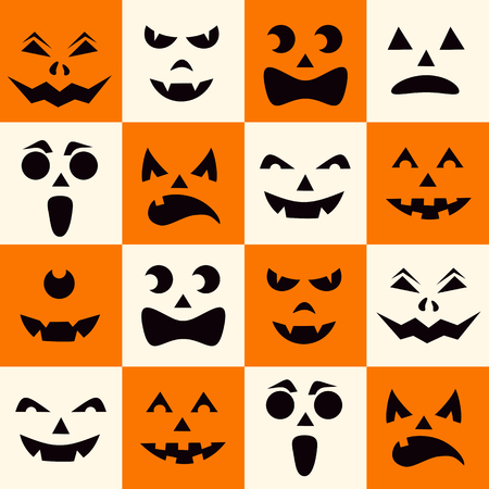 Seamless pattern with black halloween pumpkins carved faces silhouettes on checkerboard background. Can be used for scrapbook digital paper, textile print, page fill. Vector illustration