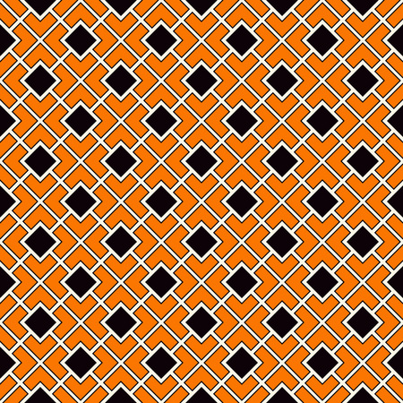 paper chain: Seamless pattern in Halloween traditional colors. Diagonal square chain abstract background. Can be used for digital paper, textile print, page fill. Color Vector illustration