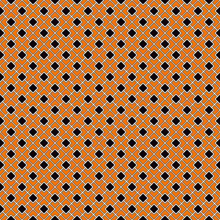 diagonal  square: Seamless pattern in Halloween traditional colors. Diagonal square chain abstract background. Can be used for digital paper, textile print, page fill. Color Vector illustration