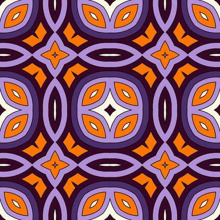 Seamless pattern in Halloween traditional colors. Abstract background with bright ethnic ornaments. Can be used for digital paper, textile print, page fill. Vector illustration Illustration