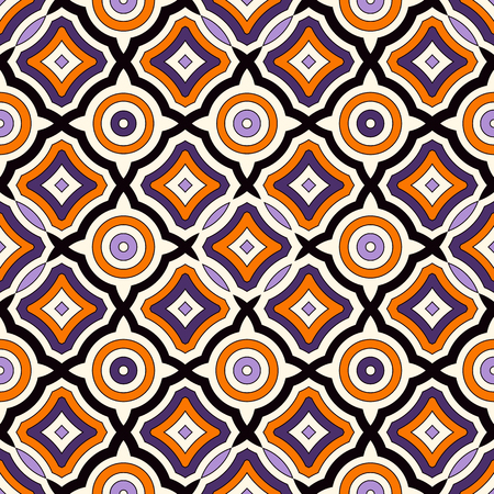 vivid colors: Seamless pattern in Halloween traditional colors. Bright ethnic abstract background. Ornamental vivid wallpaper. Vector illustration